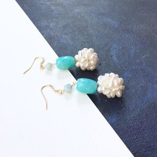 14kgf-amazonite & aquamarine pearls earrings