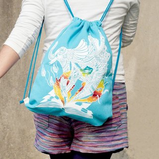 Great feel after national wind beam port backpack / shoulder bag / portable package / bag beam port - Indian elephant (light blue)