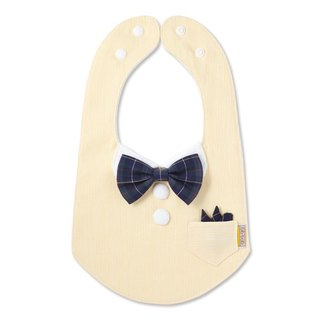 bib-bab Baby Bib Formal Type Yellow (Green Tartan Bow Tie)