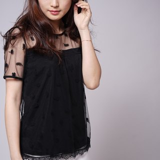 Lace custom series flocking flowers lace blouse blouse