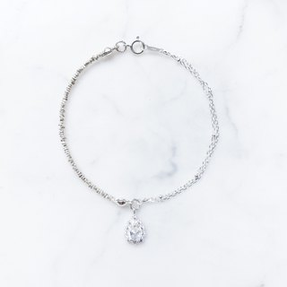:: Silver Song Trio :: Lace Ice Drops Asymmetric Double Stranded Silver Bracelet