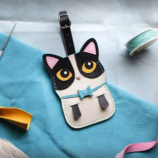 Cat - Black and White Brunswick Handmade Leather ID Card/Travel Card/ID Card Holder