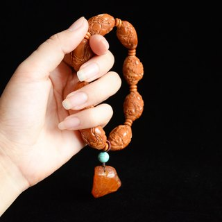 [Olive Core Carving] Chinese Traditional Engraving Bracelet Bracelet Handheld Beads