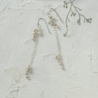 Nigiri Silver Long Hook Earrings