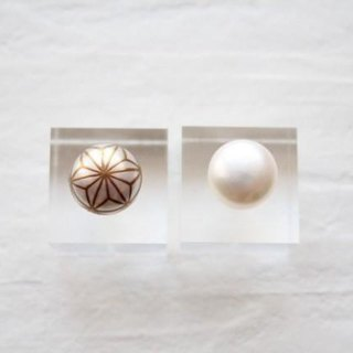 MAKIE Pearl Earrings <Japanese Pattern; hemp>