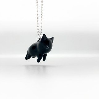 Cat's tail hanging pendant with chain depressingly little silver.