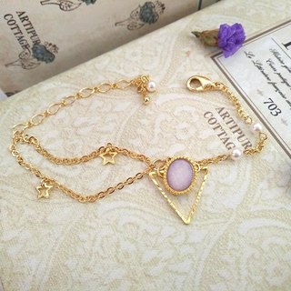 Garohands lavender pearl crystal stones embossed triangle of stars feel Bracelet B304 temperament gem geometric gift