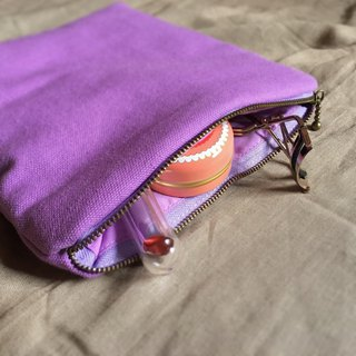 Handmade Lavender Canvas Makeup Pouch / Pencil Case