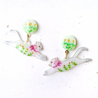 Flower and cat earrings