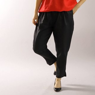 wafu   linen pants / elastic band / long length / tapered pants / black  bo1-47