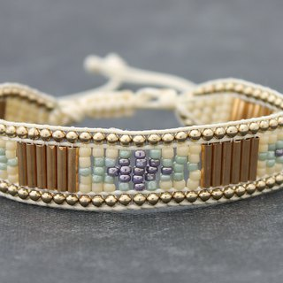 Seed Beads Friendship Bracelets Brass Beaded Braided Pastel Ivory Ethnic Pattern