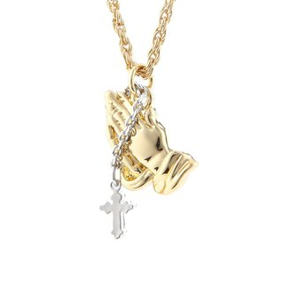 Cross prayer hand necklace