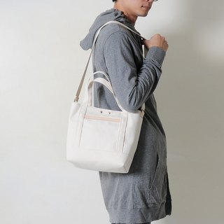 HALO-hand made leather cotton canvas hand / oblique side back / tablet bag