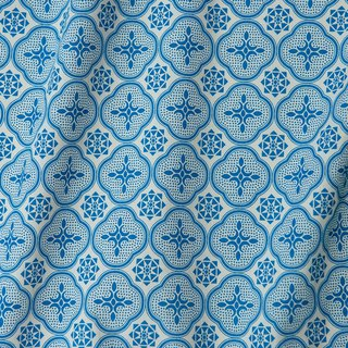 Printed Fabric / Begonia Glass Pattern / Antique Blue