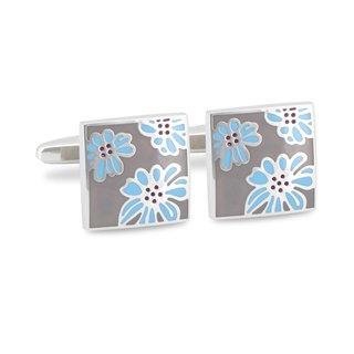 Light Beige Brown Enamel with Light Blue Floral designed Cufflinks