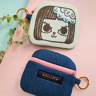 Original brand Mushroom Head Mimi cat hand-painted hand-made quilted cotton multi-purpose purse / key bag / Dayu Card Octopus card business card bag / storage bag