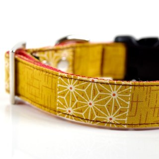 Patchwork Kimono Hemp Leaves Dog Collar - Mustard