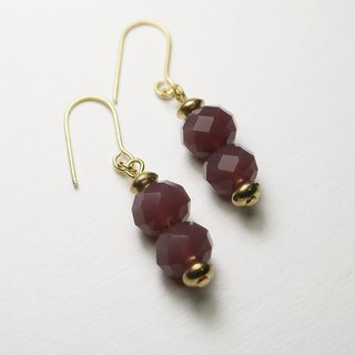 // Glass Crystal Double Beads Series Earrings Purple Sauce // Slightly Discounted