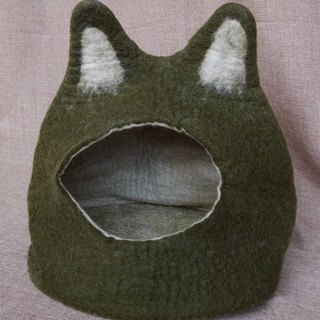 【Grooving the beats】Cat bed - cat cave - cat house - eco-friendly handmade felted wool cat bed - green