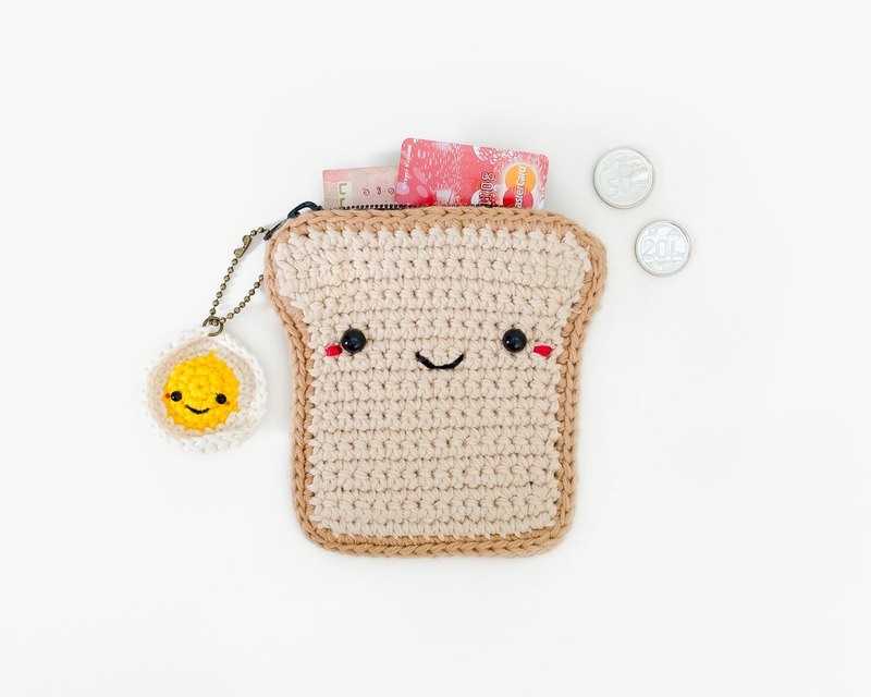 Crochet Coin Purse Bread with Fried Egg Keychain