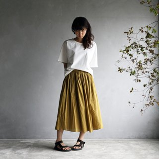 Loose cotton skirt · mustard
