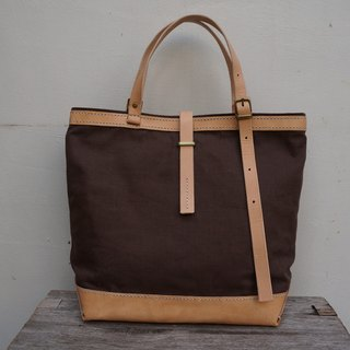 Vegetable tanned leather + canvas tote bag practical