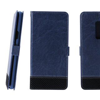 CASE SHOP Samsung Galaxy S9+拼格紋側掀皮套-藍(4716779659412)