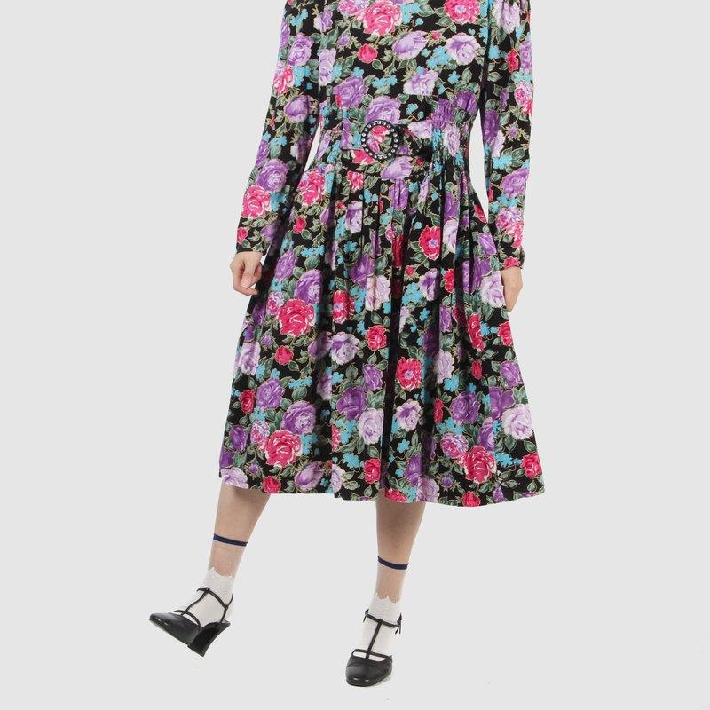 【蛋植物古著】七零偶像燈芯絨印花古著洋裝