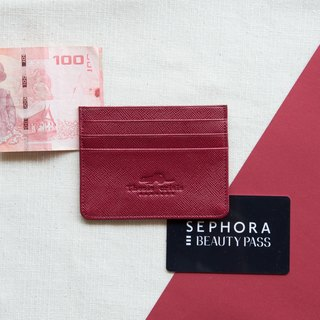 H - LEATHER CARD HOLDER/WALLET-RED