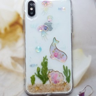 Handmade phone case, Pressed flowers phone case, iphone X, The Ocean