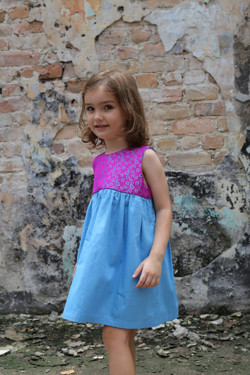 LEAF PRINT pink and blue dress