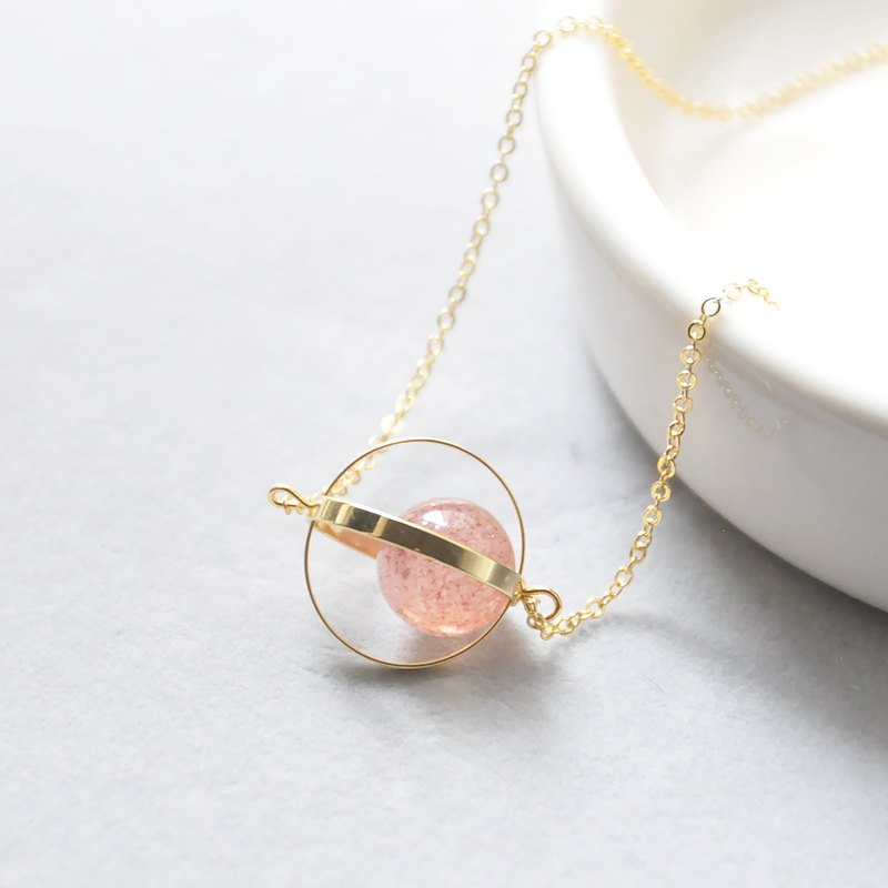 armei 金環。草莓晶。愛情星球。宇宙 項鍊 Golden Ring。Strawberry Crystal 。Love Planet。Galaxy Necklace