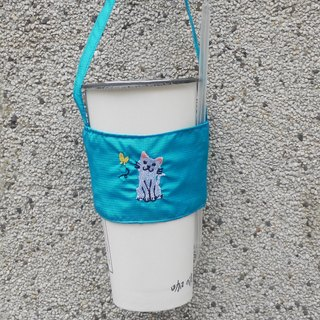 White cat's bag can walk behind the back to embroider the Chinese and English name environmental protection beverage bag