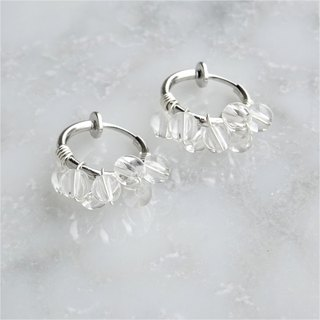 SV925SF*Crystal Quartz bubble wrapped earring / pierced earring S
