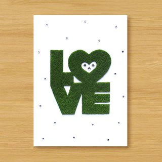 Handmade small turf card _ LOVE ... Valentine card, mother card, father card, wedding card