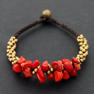 Coral Woven Bracelets Beaded Chunky Stone Brass Braided