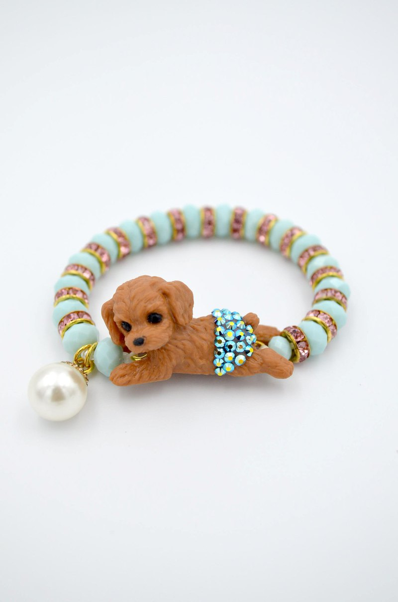 TIMBEE LO Cute Brown Lady Puppy Crystal Gem Bracelet puppy