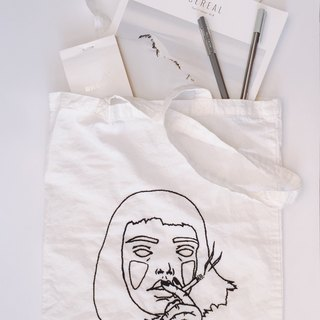smoking without soul tote bag / hand embroidered
