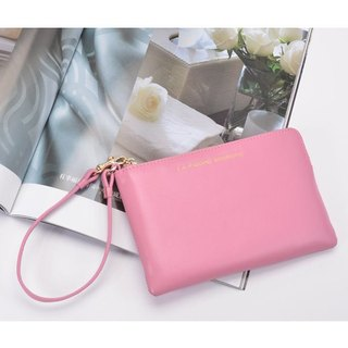【FUGUE Origin】Peach pink lightweight leather clutch bag  ★ Zip-top closure, multi-function purse, wallet