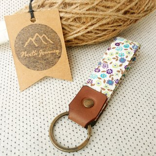 Blue Bloom Garden,Personalized Stamped Gift For Her Fabric key fob Leather Key Chain,Custom Keychain