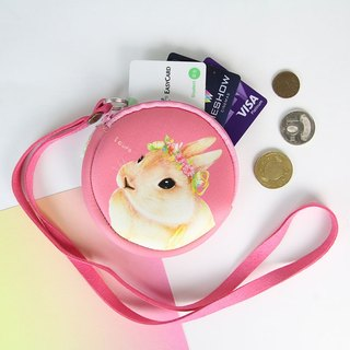 I money pink necklace wallets hand painted wind - H6. Pastoral rabbit rabbit