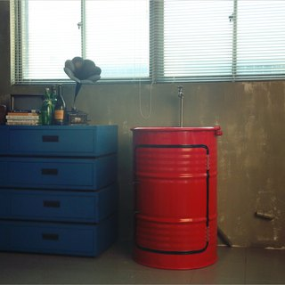 Industrial wind_ locker + drum washbasin*customized color paint*