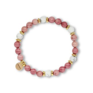 String Series Brass Rose Hip White Stone Bracelet Natural Ore Crystal