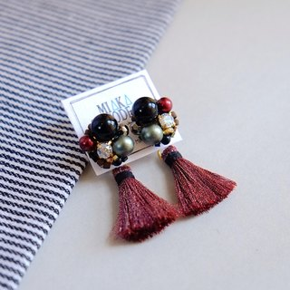 Hand-beaded Jewelry with red wine Tassel anti-sensitive Earrings/Ear-clips