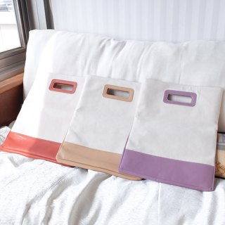 Canvas stitching leather multi-purpose envelope bag - embryo cloth rice / psoriasis purple