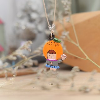a little cute orange hat girl handmade necklace from Niyome