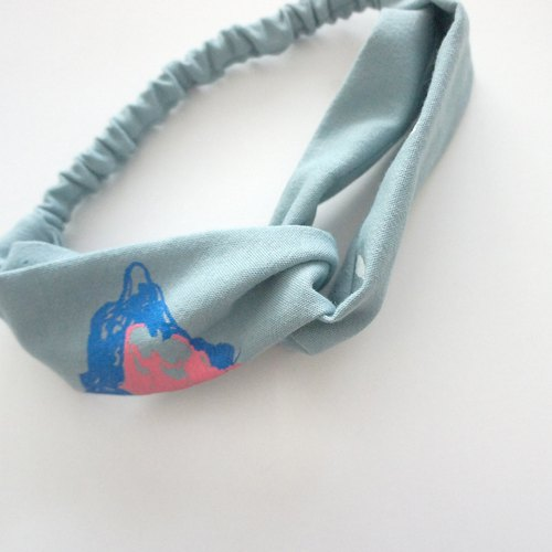Mountain, wind, blue puppy cute printed cotton handmade silk ribbon