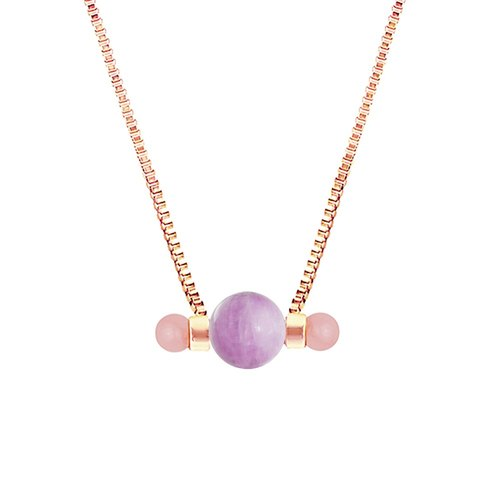Small universe magnet hole tournament stone necklace KUNZITE