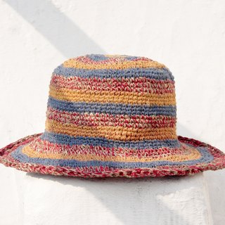 Valentine's Day gift a limited edition of hand-woven cotton cap / knit cap / hat / visor / hat / straw hat - childlike color colorful striped forest wind
