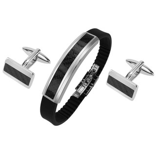 Stainless Steel Carbon Fiber Cufflinks and Bracelet Set
